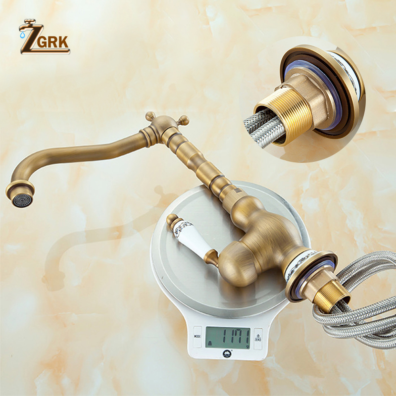 ZGRK Wholesale And Retail Deck Mounted Single Handle Bathroom Sink Mixer Faucet Antique Brass Hot and Cold Water Face Mixer Tap in Basin Faucets from Home Improvement
