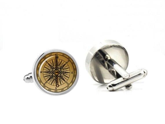 8644e84f81d9 Man Cuff Links high quality 1 Pair/lot Vintage Compass Design Cuff Link  retro Mens Accessories cufflinks glass jewelry steampunk