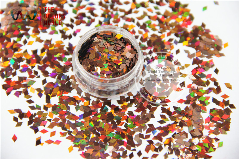 TCA406 Laser Holographic Coffee Colors Diamond shape 3MM Size Glitter for Nail Art and DIY font