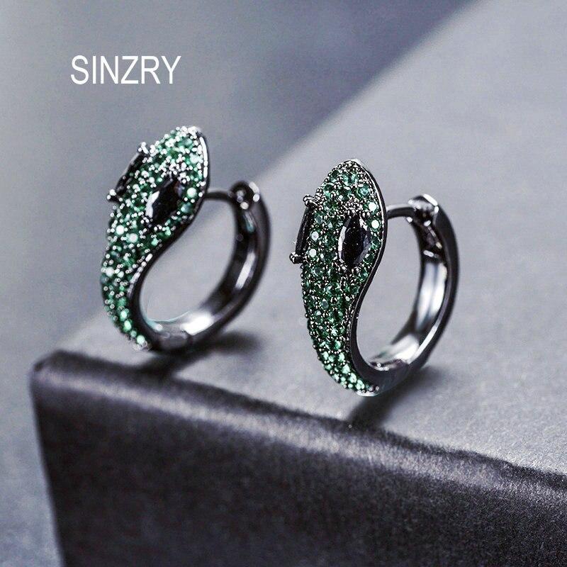 SINZRY Unique design jewelry Cubic zirconia dazlling snake shape Stud earrings CZ cute fashion earrings for women