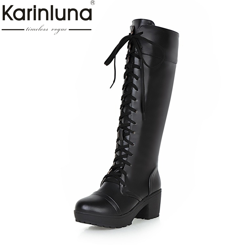 KARINLUNA 2018 Large Size 33-48 Platform Black Women Shoes Woman Lace Up Square Heels Knee High Boots Add Fur Inside