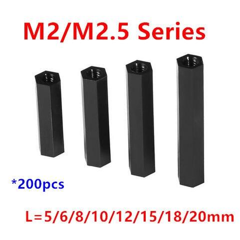 200pcs Thread M2/M2.5 Black Nylon Standoff Spacer Female to Female Column Plastic Long Hex Nut/Screws PCB Pillar
