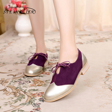 100% Genuine cow leather brogue casual designer vintage lady flats shoes handmade oxford shoes for women red purple yellow gold