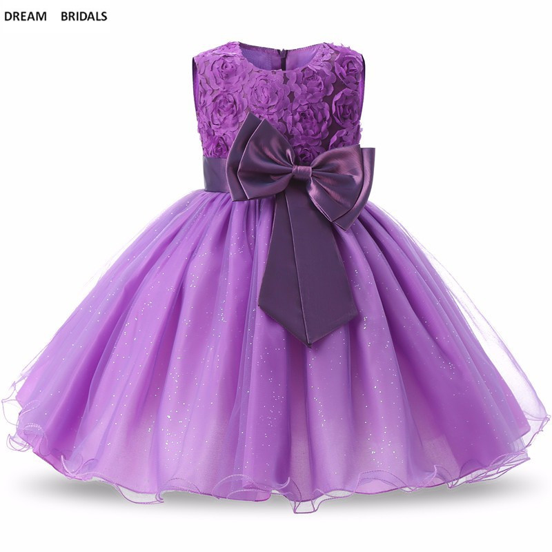 Shinny Tulle A-Line   Flower     Girl     Dresses   For Weddings Scoop Bow   Flowers   Pageant   Girl     Dresses   Robe Mariage Fille In Stock