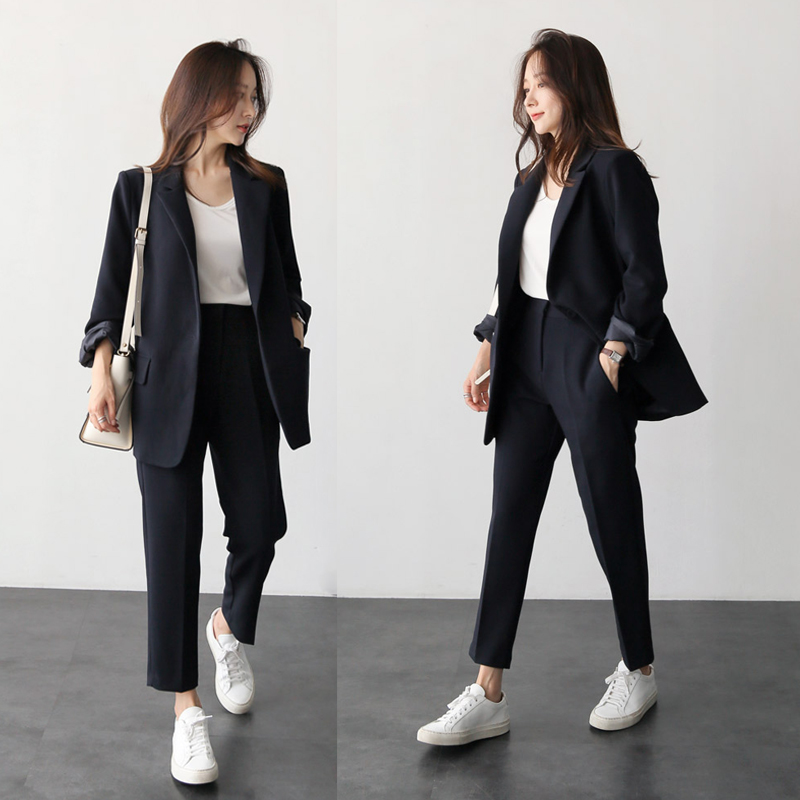 Pants suits elegant woman spring and autumn fashion solid color black office ladies business professional OL two-piece suit