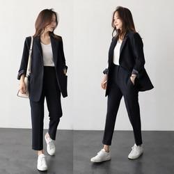 Vestiti di pantaloni donna elegante primavera e in autunno di colore solido di modo nero signore dell'ufficio affari OL professionale vestito a due pezzi