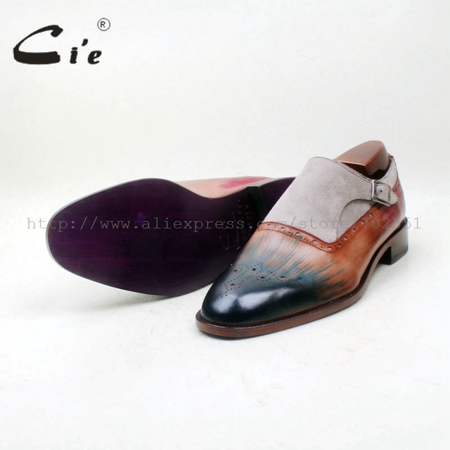 cie Free Shipping Bespoke Handmade Round Toe Single Monk Staps Grey Suede Brown Patina Blue Matching Calf Leather Outsole MS154