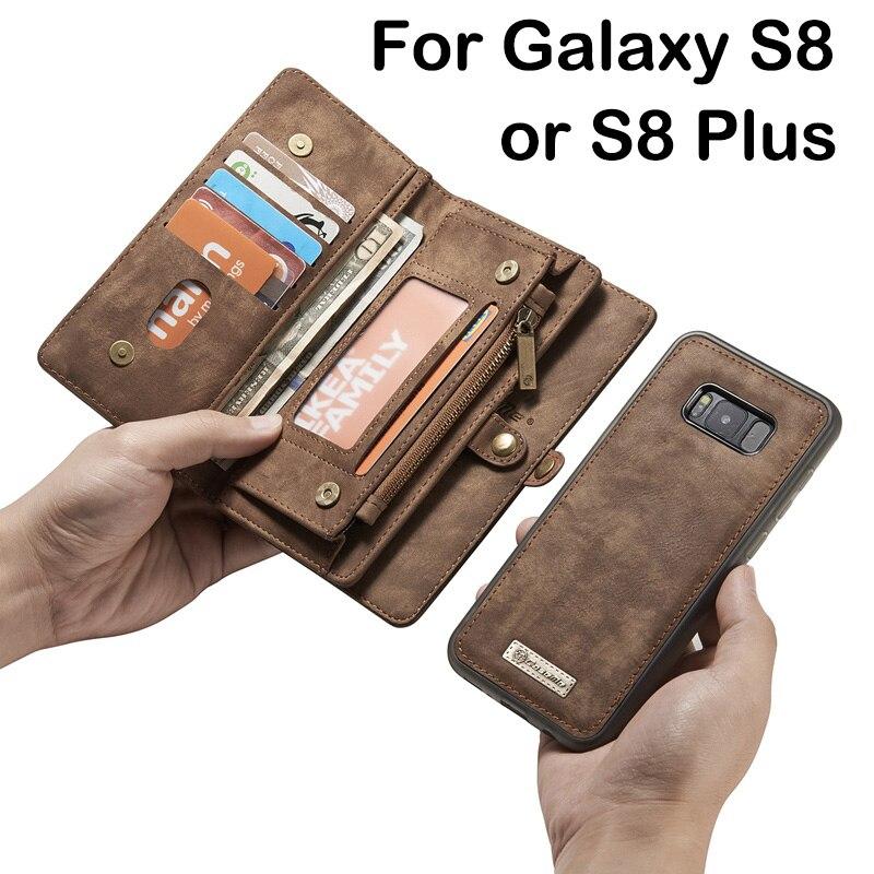 Цена за Многофункциональный молнии кожаный бумажник Магнитный съемный чехол для Samsung Galaxy S8/S8 плюс откидная крышка Держатель карты женщин
