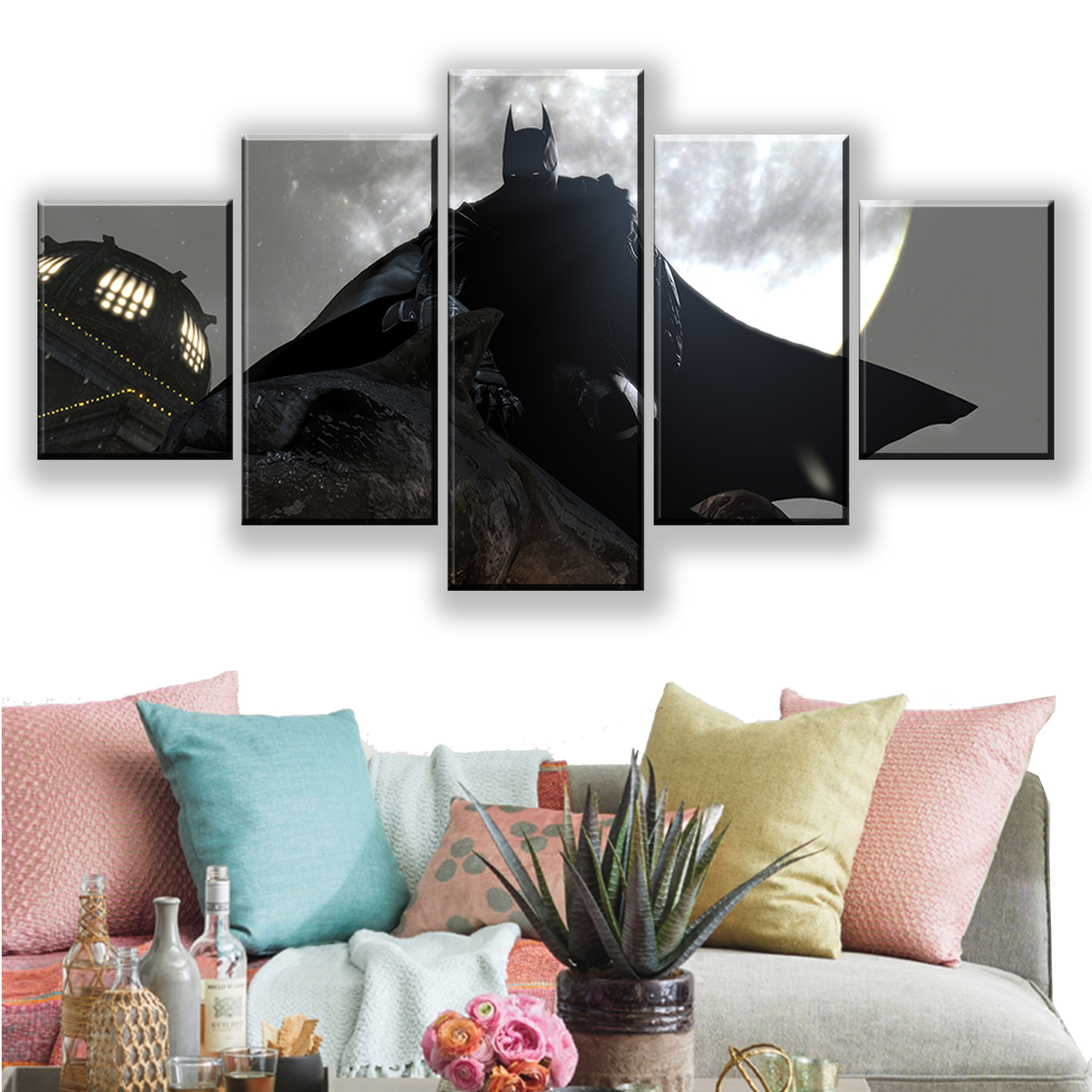 Home Decorative Canvas Painting 5 Pieces Batman Arkham City Video Game Pictures Wall Art Prints Modular Poster For Living Room in Painting Calligraphy from Home Garden