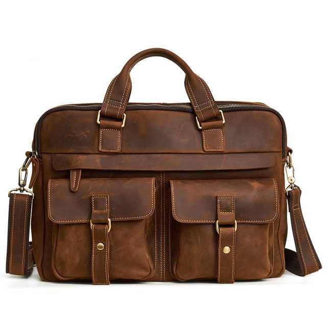 Crossten 100% Genuine Leather Men's Briefcase Tote messenger bag  15 4