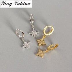 Ying vahine novo delicado pequena estrela brinco 100% 925 prata esterlina brilhante zircão estrelas pingente brincos para mulher