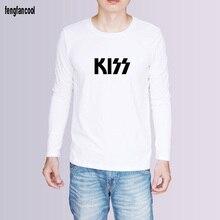 Kiss rock band printed hip hop t shirt men Spring autumn Men cotton good quality men t-shirt white, black, grey color tees