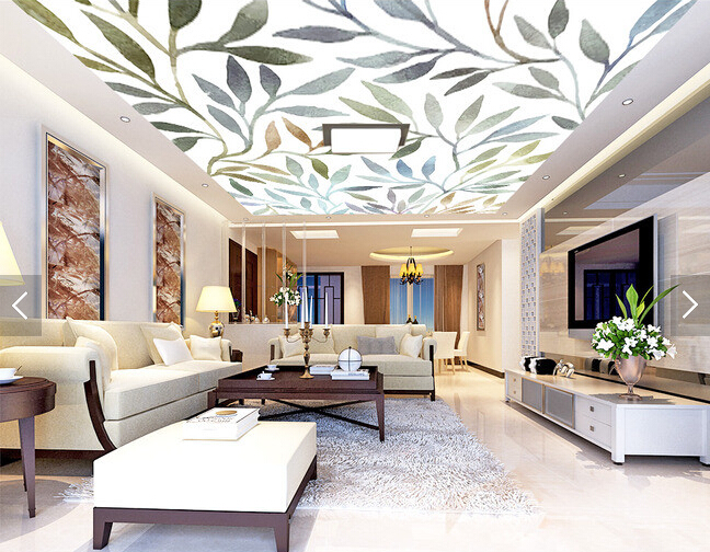 Custom ceiling wallpaper, art watercolor rendering Leaves for living room bedroom TV ceiling background wall PVC wallpaper custom ceiling wallpaper blue sky and white clouds murals for the living room apartment ceiling background wall vinyl wallpaper