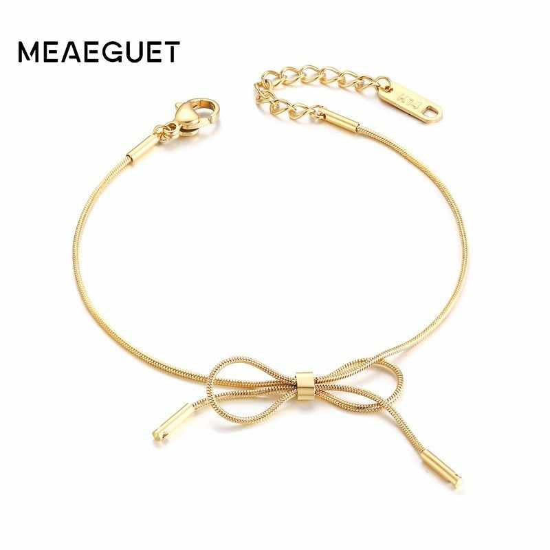 Charm Bow Bracelet Women Stainless Steel Rose Gold Color Adjustable Elegant Pulseras Bracciali Donna Party Girl Gifts