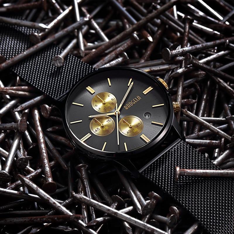 BAOGELA Chronograph Men s quartz watch Stainless Steel Mesh Band Gold Watches Slim Men Watches Multi