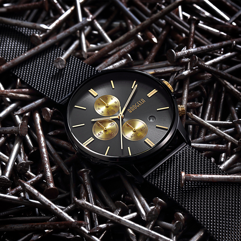 BAOGELA Chronograph Neue Männer Quarzuhr Edelstahlgewebe Band Gold Uhren Schlanke Männer Uhren Männlich Relogio Sport Armbanduhr