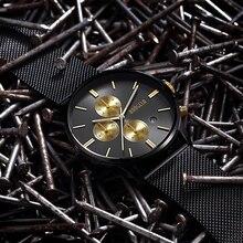 BAOGELA Chronographe hommes de quartz-montre en acier inoxydable maille bande or montres Mince hommes montres Multi-fonction sport Wristwatche