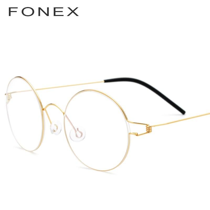 FONEX Vintage Brillen Rahmen Männer Brillen Frauen 2018 Runde Myopie Optische Rahmen Koreanische Schraubenlose Brillen 98607