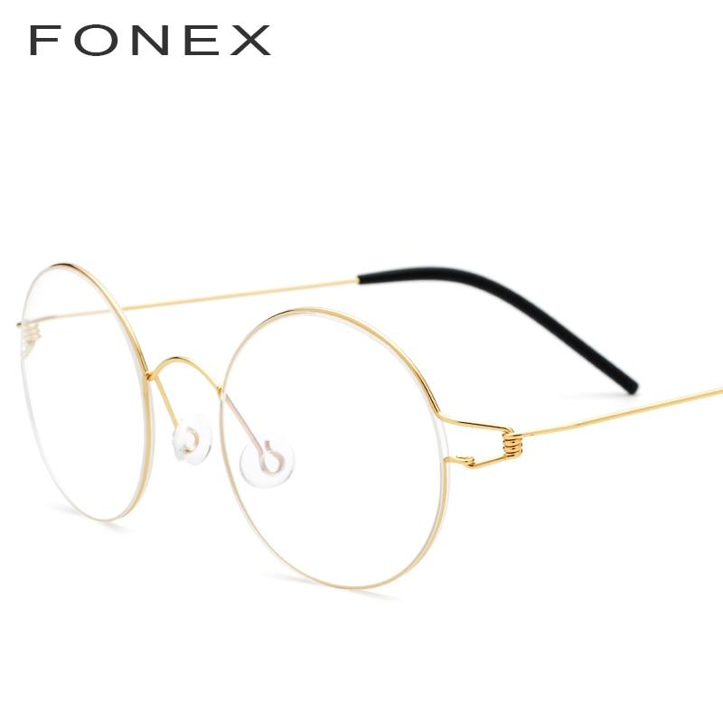 FONEX Vintage gafas hombres prescripción gafas mujeres ronda de 2018 miopía marcos ópticos coreano sin tornillos gafas 98607