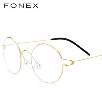 Fonex Vintage Kacamata Frame Pria Resep Kacamata Wanita 2018 Bulat Miopia Optik Rentang Korea Nirsekrup Eyewear 98607