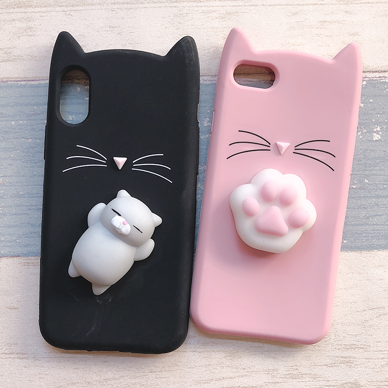 3D Cute Japan Glitter Bearded Cat Case For iphone 5 5S SE X Squishy Cat Cases For iphone 7 8 6 6S Plus Silicone Mobile Phone Bag (8)