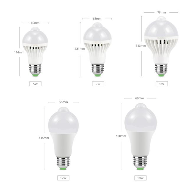 7W 9W 12W 18W PIR Motion Sensor LED Cabinet light Bulbs E27 220V Dusk to Dawn Night light Stair Pathway Corridor Emergency lamps