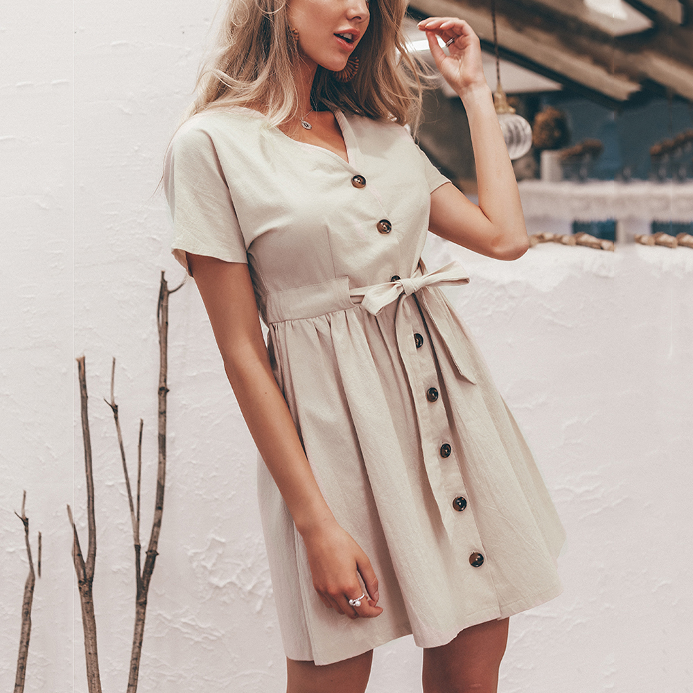 Summer Women Button Dress V-neck Short-sleeved Casual Tie Mini Dresses Cotton Naturla Waist Elegant Solid Color Western Beige