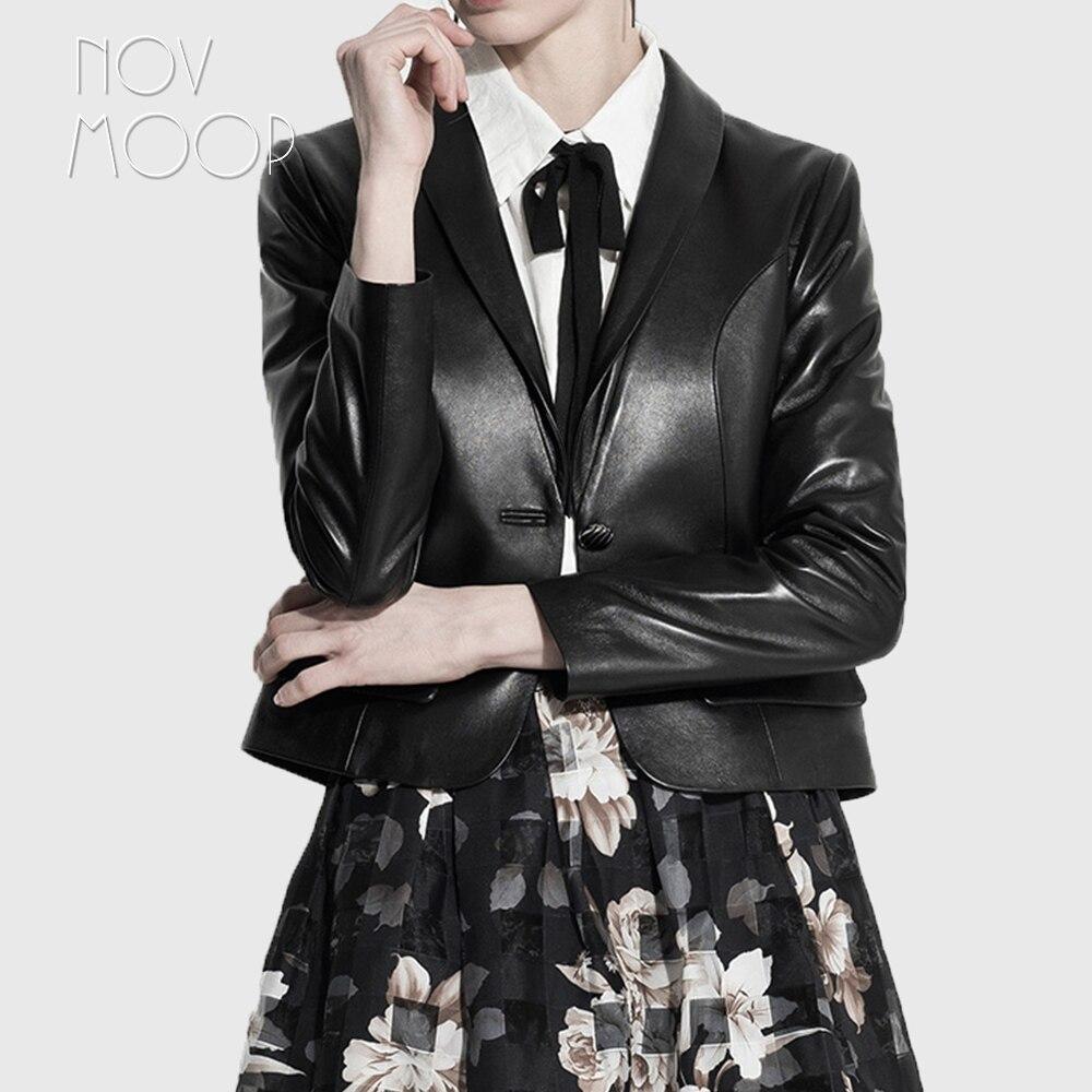 Printemps Automne bureau style noir véritable peau de mouton en cuir d'agneau vestes manteaux recadrée chaqueta mujer jaqueta de couro LT1613