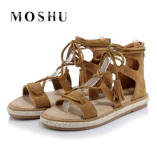 Gladiator Sandals Women Genuine Leather Summer Women Flats Sandals Cover Heel Casual Shoes Tassel Lace Up Plus Size 35-42