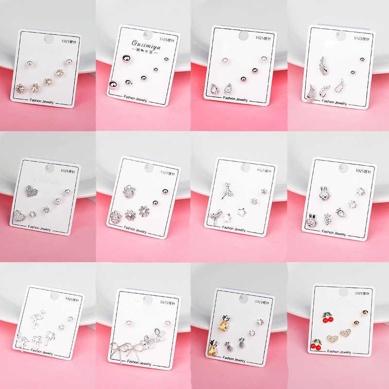 Thời Trang Mới 925 Nơ Kim Tuyến Ngọt Cubic Zircon Cherry Pha Lê Sụn Bông Tai Đinh Bộ Tai Tai Cho Nữ GIFT