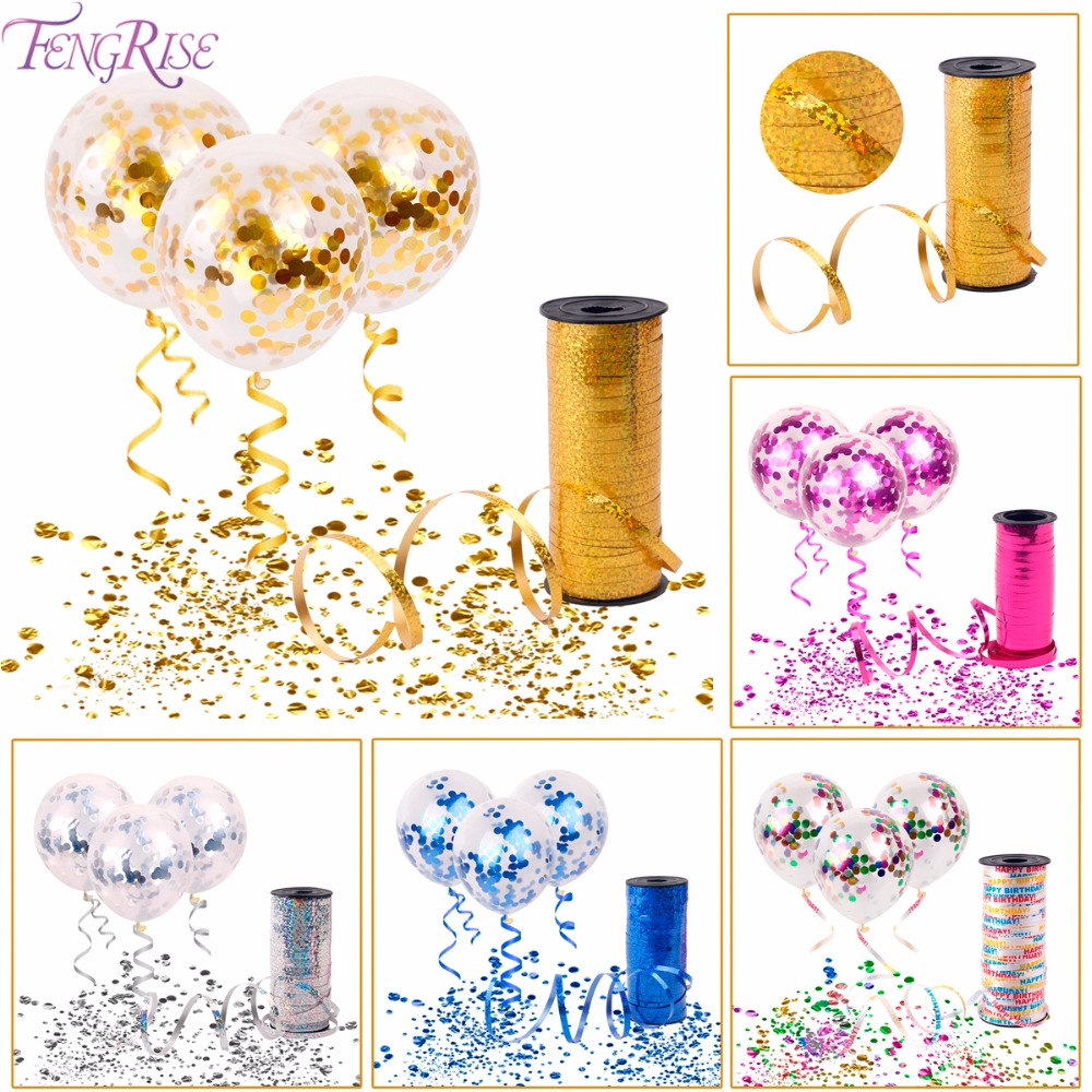 FENGRISE 5PCS Confetti Balloons 100Yards Curling Ribbon Birthday Decoration Kids Birthday Party Supplies Baby Shower Favors