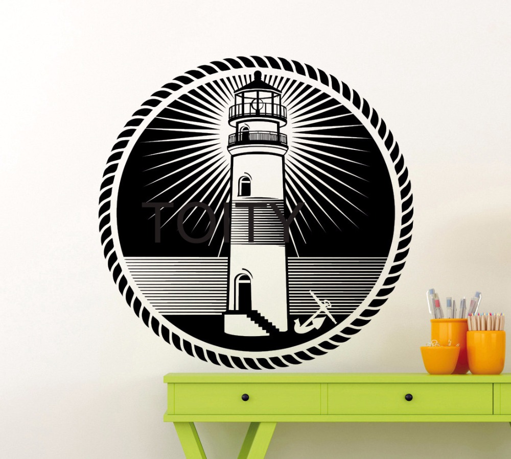 Nautical Office Interiors - Lighthouse silhouette wall decal nautical sea ocean poster beach vinyl sticker home room interior decor office