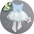 2016 Crianças Roupas de Verão Vestido de Princesa lindo Arco Vestidos Das Meninas Do Bebê Roupa do laço patchwork vestido de festa roupas de bebê recém-nascidos