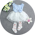 2016 Summer Kids Clothes Princess Dress lovely Bow Baby Girls Dresses Clothes lace patchwork newborn party dress baby clothes