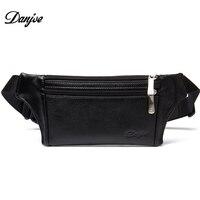 DANJUE Genuine Leather Men Waist Packs Waterproof Messenger Bag For Man Soft Cowhide Black Chest Bag