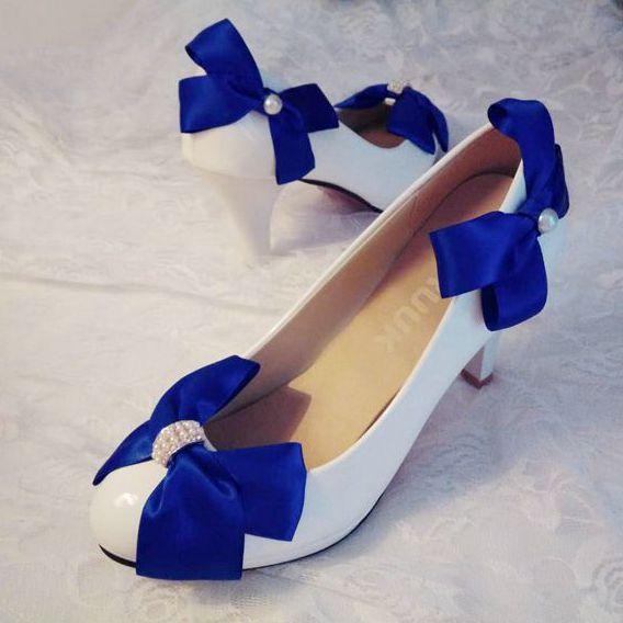8.5cm Super High Heels Blue Satin Bow Wedding Shoes White