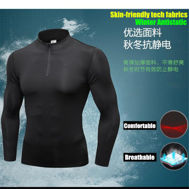 Image 3 - Mens Shapers Trainning&Exercise Sweater 3D Tight Elastic Quick dry Wicking Sport GYM Running Long Sleeves Stand Collar Sweaterssweater 3dtrain traintrainning men -
