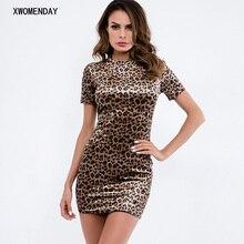 86a278260a91 Vintage Leopard Print Sexy Summer Dress Women Short Sleeve O Neck Mini Dress  2019 Short Night