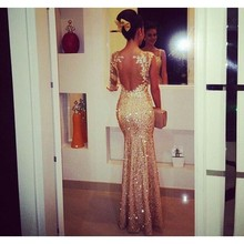 Fantastic 1294 long evening dress 2014 new arrival formal dresses scoop champagne sequined mermaid lace appliques