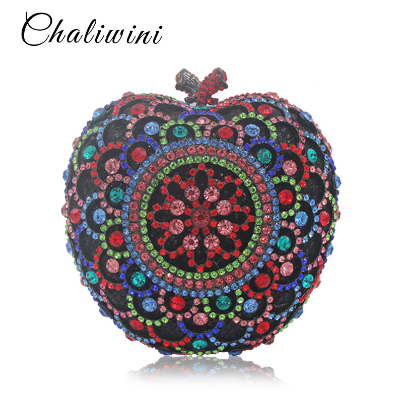 Colorful Hollow Out Apple Shape Women Gold Crystal Clutch Evening Bag Wedding Party Cocktail MInaudiere Handbag Purse colorful hollow out apple shape women gold crystal clutch evening bag wedding party cocktail minaudiere handbag purse