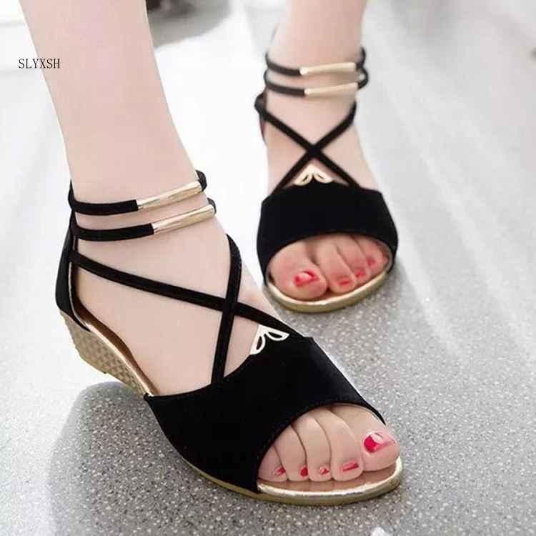 SLYXSH 2019 Phụ Nữ mới Mùa Hè giày nền tảng thời trang dép da lộn giày của phụ nữ phẳng giày dép