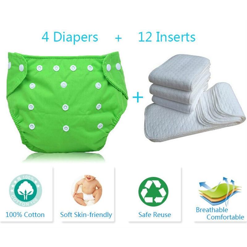2a18123b68b 16 pcs Kid Adjustable Reusable Baby Diapers Cotton Cloth Nappy Diapers  Washable Baby Diaper Baby Cloth