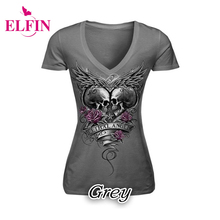 Skull Print T-Shirt Causal Women Short Sleeve V-Neck Punk Style Skull Print  T-Shirt Tee Tops S-5XL Women Clothing LJ8593R