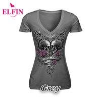 Skull Print T Shirt Causal Women Short Sleeve V Neck Punk Style Skull Print T Shirt