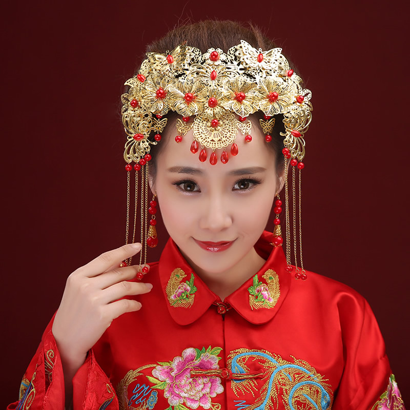 Bride Headdress Wedding Hair Clips Chinese Style Coronet Hairpin Metal Hairband Women Hair Accessories Free Shipping 00009 red gold bride wedding hair tiaras ancient chinese empress hair piece
