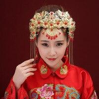 Bride Headdress Wedding Hair Clips Chinese Style Coronet Hairpin Metal Hairband Women Hair Accessories Free Shipping