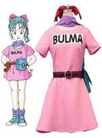 Anime Dragon Ball Z Cosplay Bulma Pink Dress Halloween Christmas Party