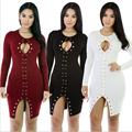 New Arrival 2016 Women Tie Up Front Long Sleeve Bodycon Dress Black White Red Womens Sexy Dresses Party Night Club Dress