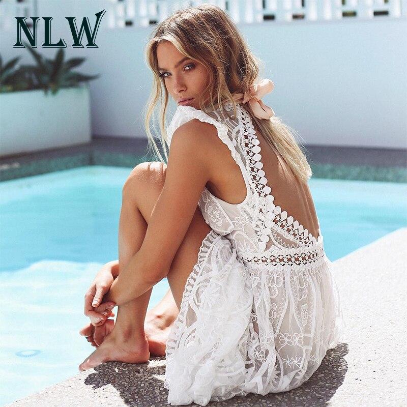 NLW col en V dentelle blanc élégant Maxi longue robe printemps été évider dos nu Vestidos Sexy taille haute femmes robes chics