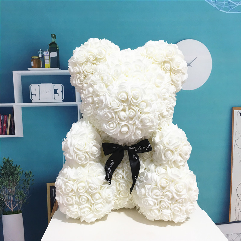 2019 DropShipping 40cm With Heart Big Red Teddi Bear Rose Flower Artificial Decoration Christmas Gifts For Women Valentines Gift(China)